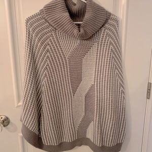 Grey and White Poncho Sweater